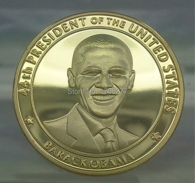 HOT Commemorative gold plated coin and the president of United state Barack Obama American coins,2pcs/lot,Free shipping(China (Mainland))