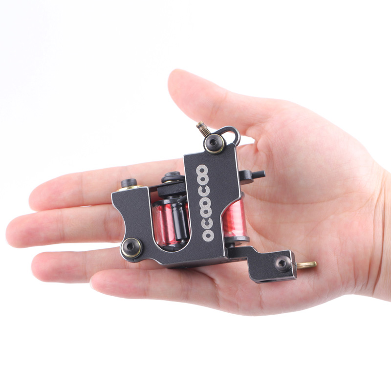 mini 10 wraps coils Left TATTOO guns 8000 R/Minute Copper Professional Secant Tattoo Machine for Masters Wire-electrode cutting(China (Mainland))