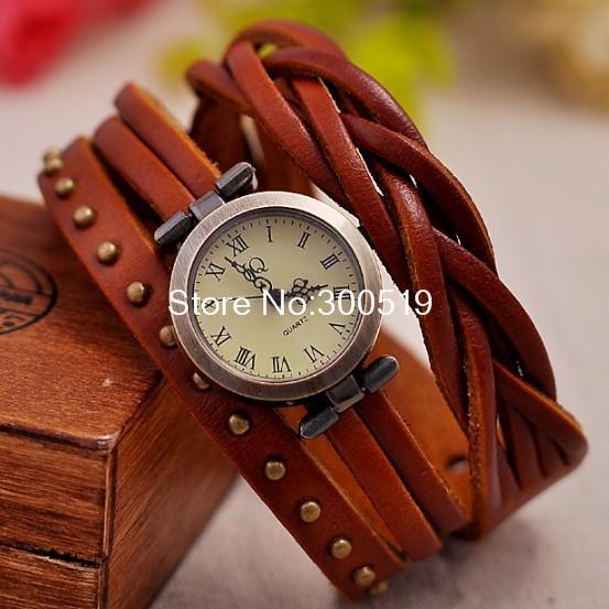 JW325 Vintage Retro Rivet Braided Genuine Leather Strap Women Wristwatches Bracelet Dress Watches Clock .(China (Mainland))