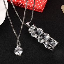 Buy ZOSHI Fashion Silver Plated Chain Necklaces Wholesale 2 Multilayers Necklace Women Long Crystal Pendants & Necklaces Hot for $1.85 in AliExpress store