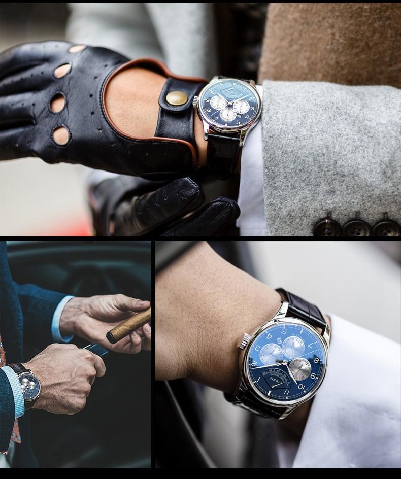 Парнис Пилот II Seriers Светящиеся Мужские Кожаный Ремешок Моды Автоматические Механические Часы Наручные Часы