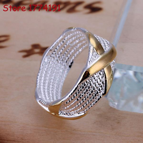 Silver plated two tone rings new finger ring for lady 18K silver gold plated jesus cross bible wedding band ring men women R013(China (Mainland))