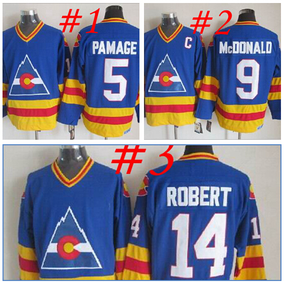 In Fast Free Shipping!!! Discount hockey Jersey Colorado Avalanche Throwback Blue Jersey14 Rene Robert 9 Lanny McDonald 5 Rob Ra(China (Mainland))