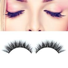 1 Pair 3D Fashion Bushy Cross Natural False Eyelashes Mink Hair Handmade Eye Lashes Makeup Tool Free Shipping(China (Mainland))