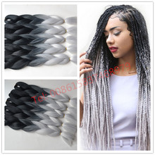 Free shipping ombre Kanekalon braiding hair two toned jumbo braids synthetic hair extension Black ombre silver Gray