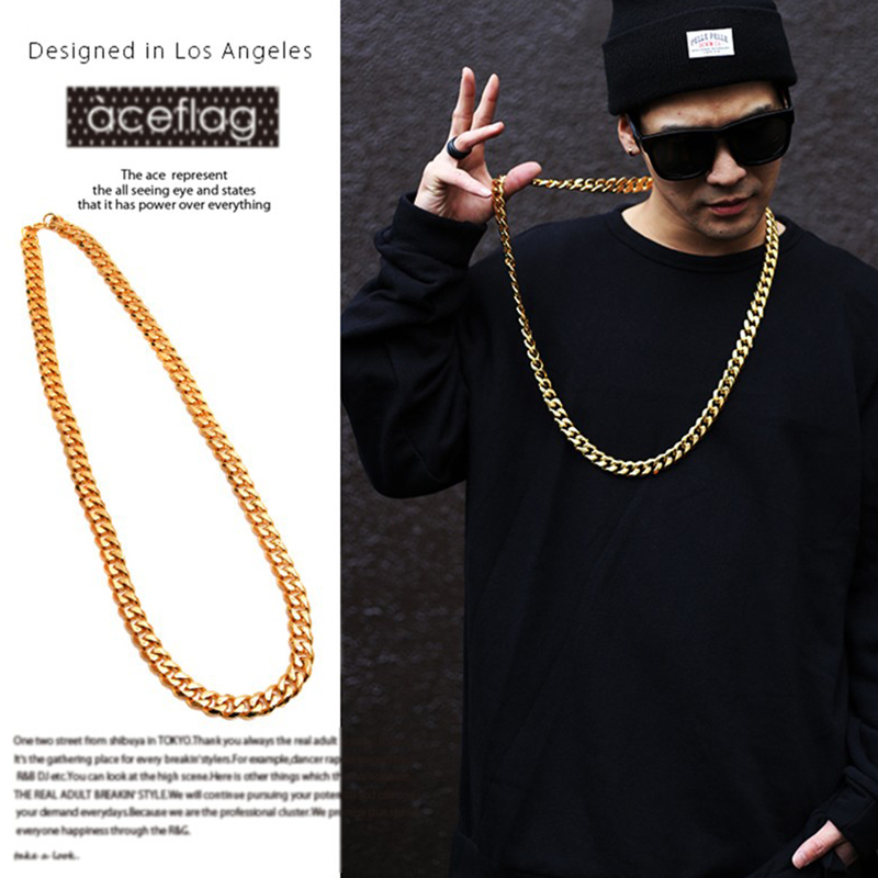 JFY 2016 Cuban Link Chain 18K Gold Plated Necklace 8 MM 26''39'' Gold Chain For Men High Quality Trendy Hip Hop Bling Jewelry(China (Mainland))