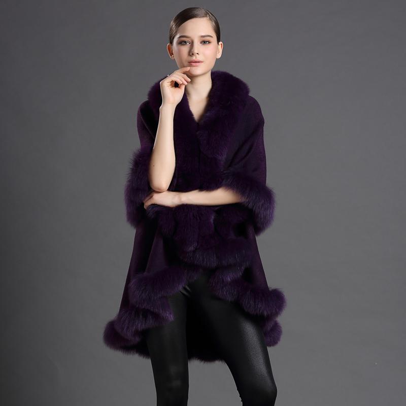 Gennuine Women Fur Scarves Cashmere Fox Fur Cachecol Warm Trendy Female Pashmina Solid Fashion Shawl Ponchos Cape-style Shawl(China (Mainland))