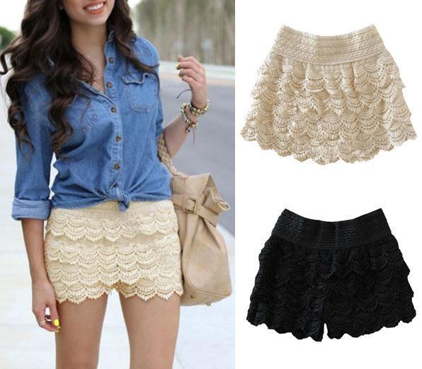 4 Sizes 2014 New Summer Woman Shorts Sweet Style Lace shorts Crochet Hollow Elastic Waist Slim Short Drop Shipping WF-024