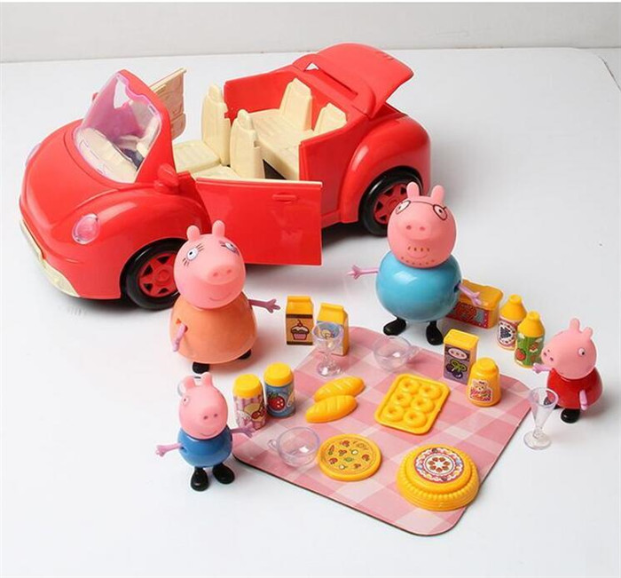 Peppa Pig Family Pig With Red Car Picnic Foods Toy Figures Action Cartoon kids Children Toys(China (Mainland))