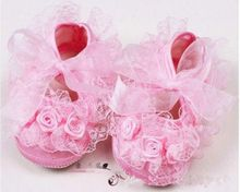 Baby Newborn Infant Cute Girls Crochet Lace Flower Lace up Shoes 0-12M Prewalker(China (Mainland))