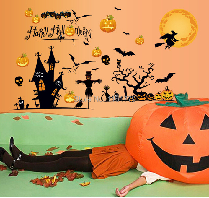 "95x60cm (38""x24"") MJ8006 Happy Halloween Pumpkin Wall Stickers for Kids Rooms Removable Home Decoration DIY PVC Adesivos Decals(China (Mainland))"