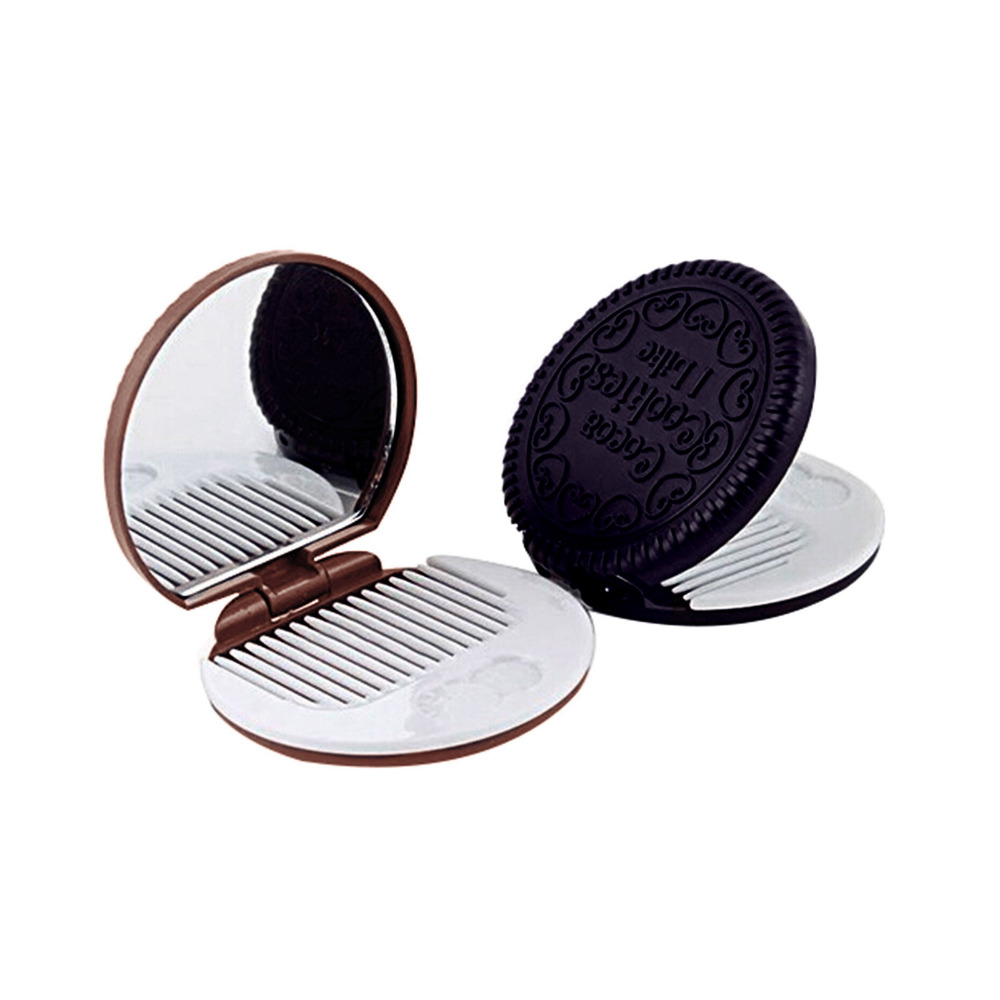 Cute Cookie Shaped Design Mirror Makeup Chocolate Comb LW100(China (Mainland))