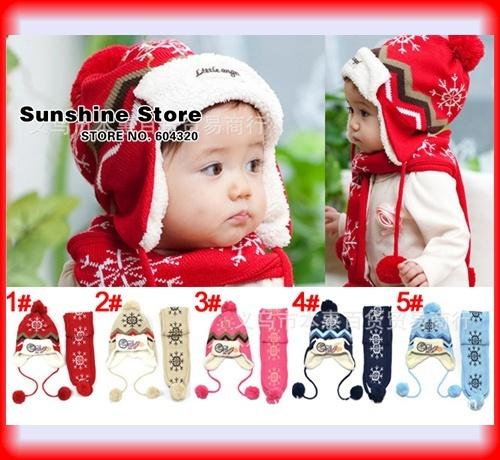 Snowflake baby children's hat and scarf set Christmas winter Beanie children velvet cap photo props #2C2683  5 set/lot(5 colors)