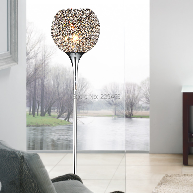 Brief Modern K9 Crystal Floor Lamp Living Room Home Decor Lampshade Lighting E27 110-240V(China (Mainland))
