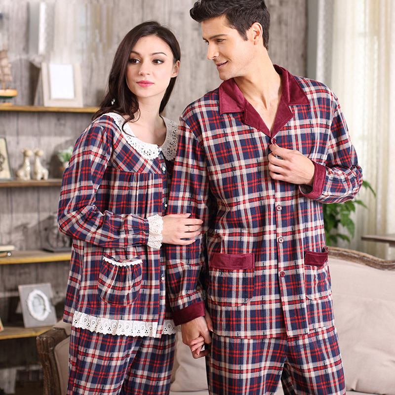 2015 New Plaid Couple pajamas 100% cotton Lace Long sleeve pyjama sets cotton Round neck sleepwear casual homewear A5012 A5107Одежда и ак�е��уары<br><br><br>Aliexpress