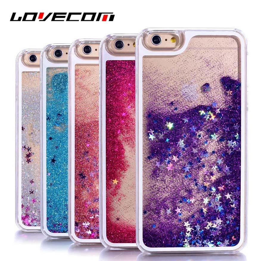 LOVECOM iPhone 6 6S 7 Plus 4 4S 5 5S SE 5C Phone Cases Glitter Stars Dynamic Liquid Quicksand PC Hard Back Cover Capa Shell