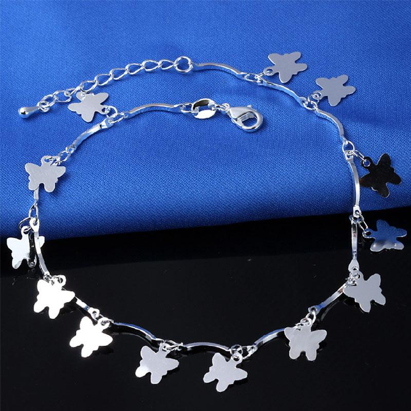 Trendy Butterfly Shape Charm Women Anklets Body Jewelry Silver Plated Wedding Beach Foot Bracelet Pulseira Feminina Chain(China (Mainland))