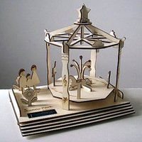 Suny park Solar 3D puzzle Plywood Solar Carousel  DIY toys Educational toys christmas gifts Free shipping