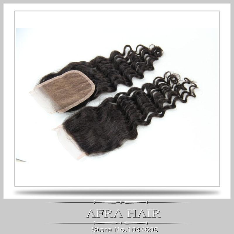 Deep Wave Silk Base Closure 100% Natural Hair Lace Closure 4x4 Silk Base Closure Unprocessed W009<br><br>Aliexpress