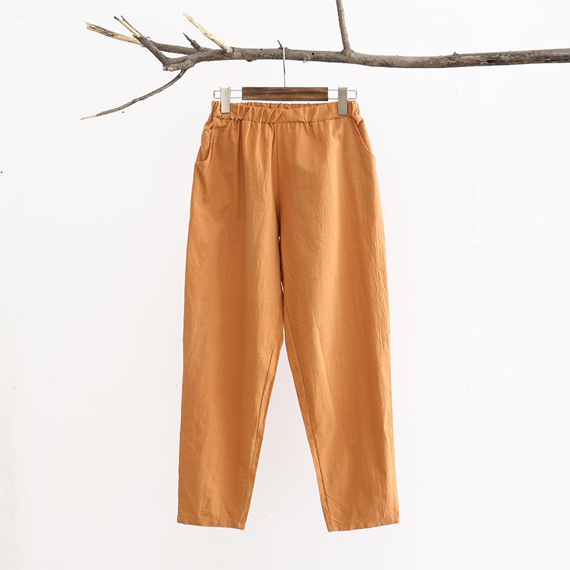 Summer Casual Linen Cotton Women Harem Pants Elastic waist Solid Candy color Pants Brand Mori girl Design Linen Trousers 3041(China (Mainland))