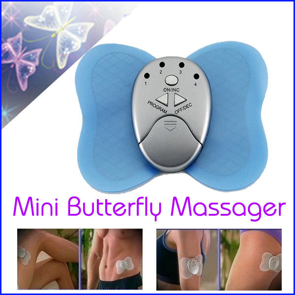 S01374 Mini Butterfly Design Body Electronic Massager Losing Weight Slimming Vibration Muscle Massager Health Care Tool Blue FS(China (Mainland))