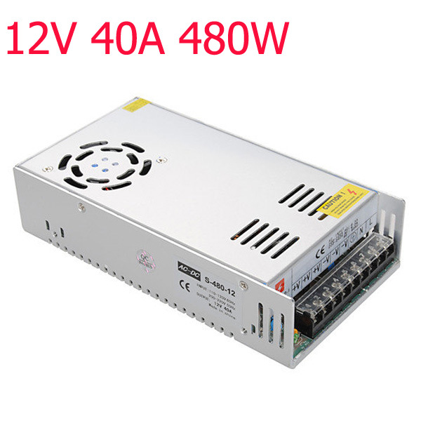 Switching Power Supply 85-265V To 12V 40A 480W Power Supply Charger Transformer Adapter for 5050 3528 LED RGB Strip light<br><br>Aliexpress
