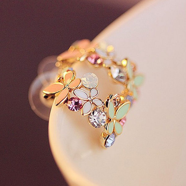Sweet Colorful Crystal Rhinestone Hollow Butterfly Half Circle Design Earrings Ear Stud Women Girls Jewelry Gift