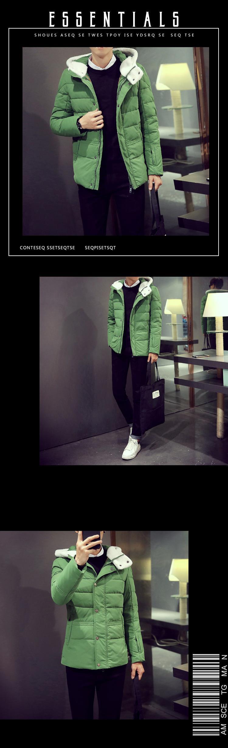 Скидки на Мужская Корейской Тонкий с капюшоном кашемир и пиджаки Ветровка Мужчин Высокое Качество парки Ветрозащитный теплые Куртки Вниз Пальто куртка Плюс размер