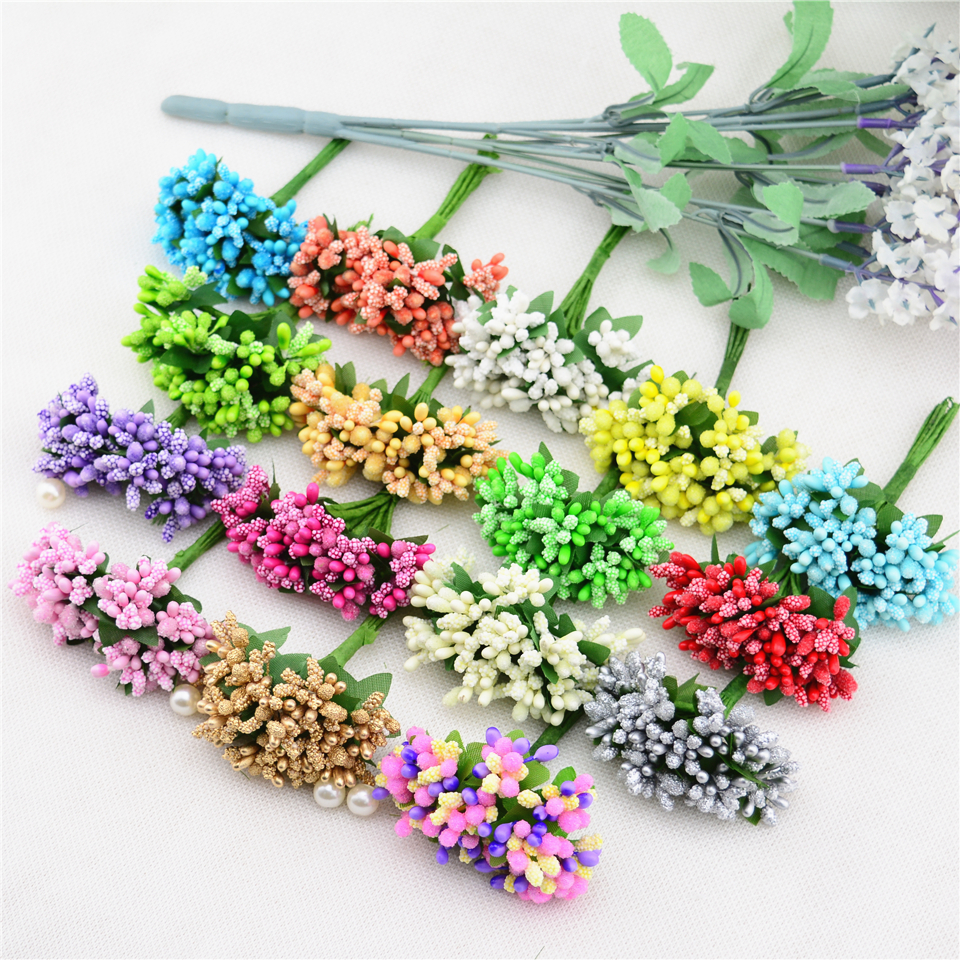 12PCS/lot Mulberry party Artificial Flower Stamen wire stem/marriage leaves stamen DIY wreath wedding box decoration(China (Mainland))