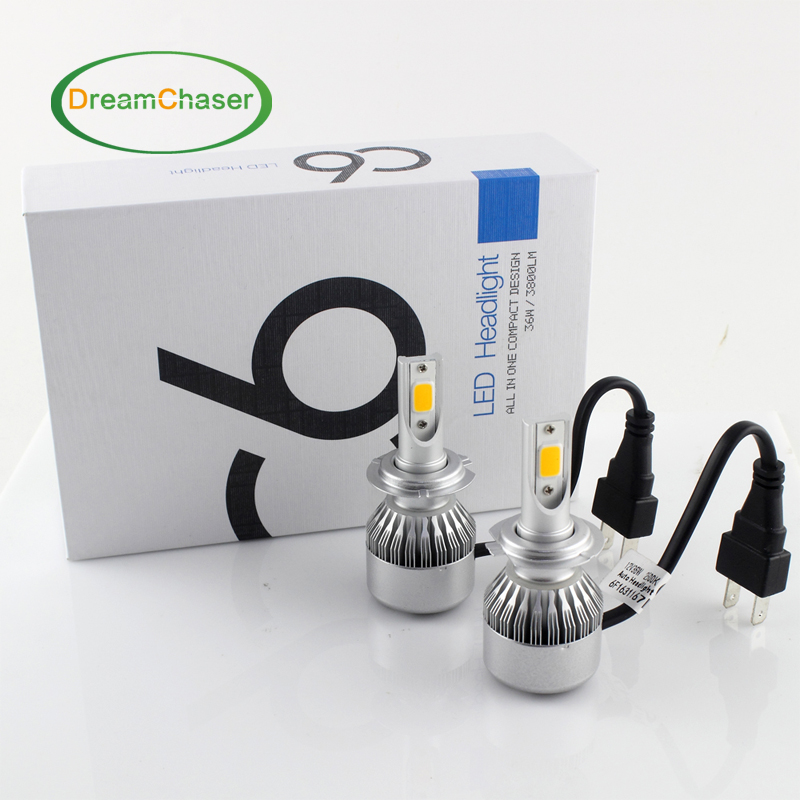 COB LED H7 Car Headlights Kit 72W 7600lm Auto Front Light H7 Fog Bulb 3000K Xenon White 6000K H1 H4 H10 H8 H11H13/880/881 9005/6(China (Mainland))