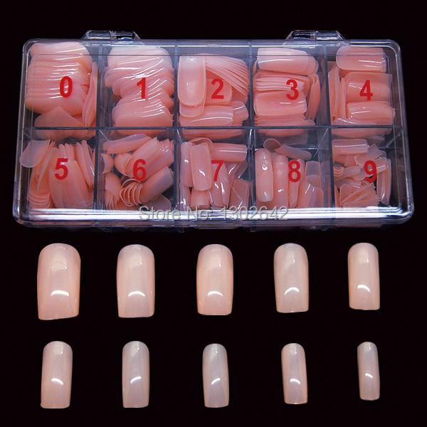 #19FN 500pcs/box Free shipping Mix 10 sizes light color Fake Nails Tips False Nail Art Tips Cover Shiny Artificial Nail(China (Mainland))