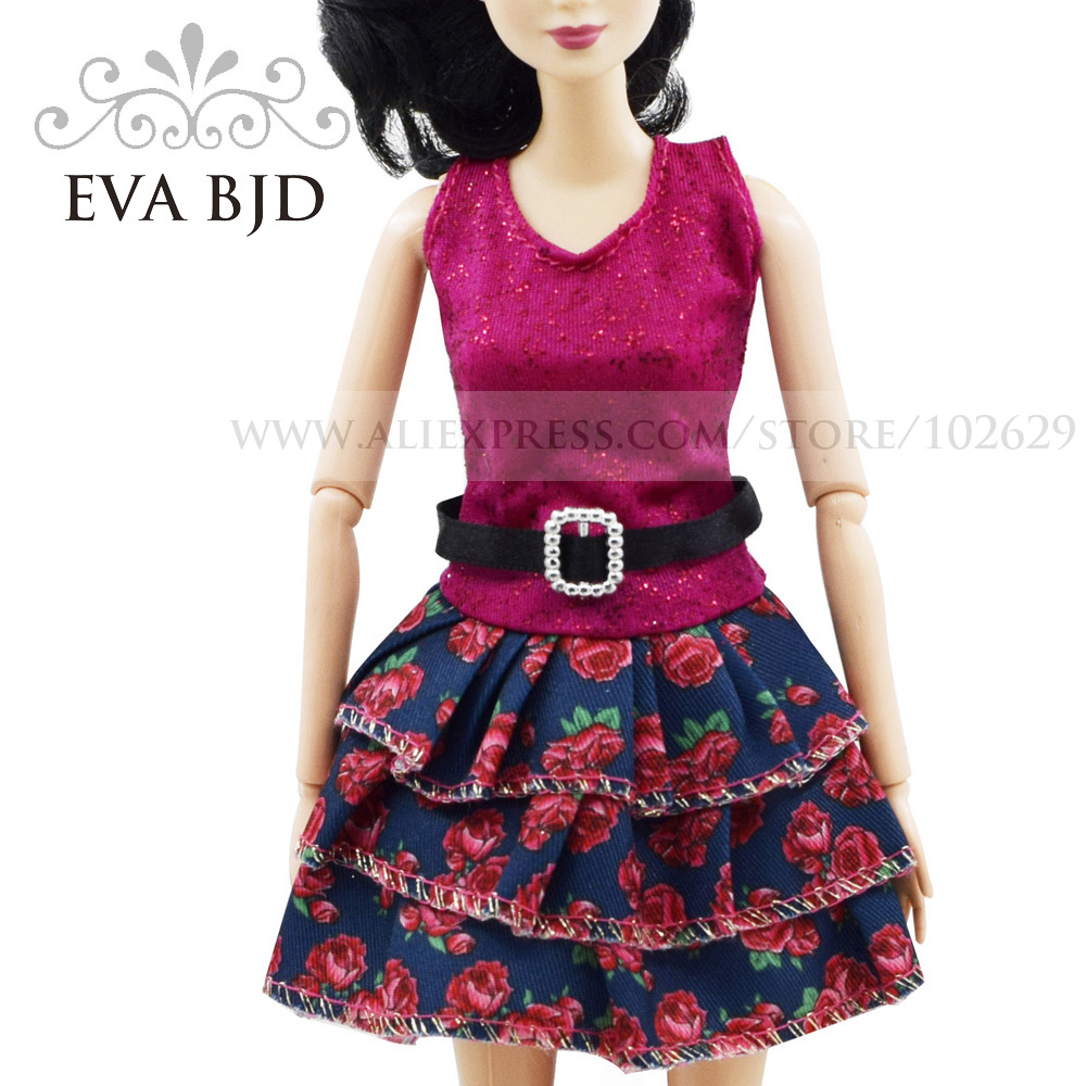 Handmade Daily Dress Fashion Clothing For Barbiee Red Pink Flower Clothes Dolls Accessories( NOT include doll) EVA BJD DBC003(China (Mainland))