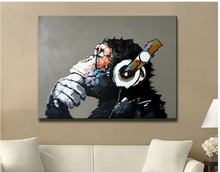 100% hand-painted new popular products free shipping oil painting canvas monkey sitting room adornment art of art(China (Mainland))