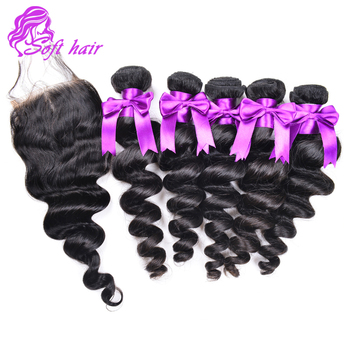 9A Brazilian virgin hair loose wave lace closure cheap 3 bundles Brazilian virgin loose wave human hair with lace closure sale