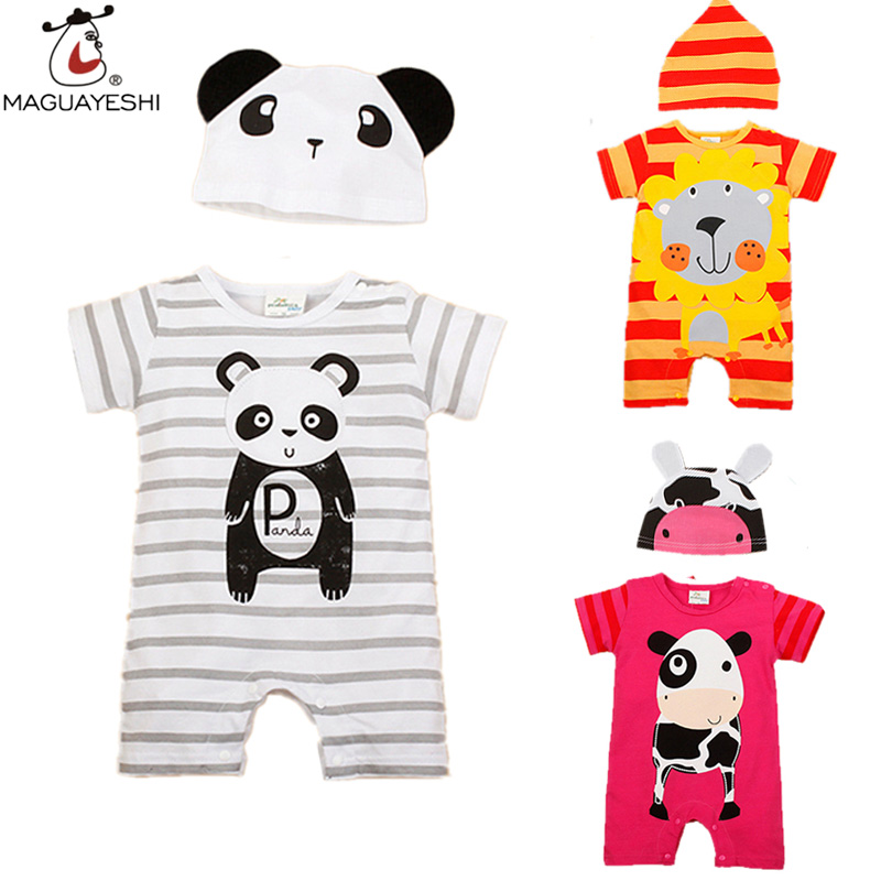 Baby Rompers Summer Style Baby Girls Clothes Animal Newborn Infant Jumpsuits Ropa Bebes Baby Boy Brand Clothing Set Romper+Hat(China (Mainland))