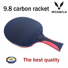 Best quality carbon bat handle table tennis rackets red blue rubbers pingpong paddle short holder straight grip offensive racket(China (Mainland))