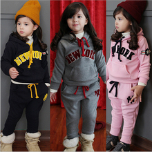 Girl Clothing Set,3-8 Age Girls Sport Clothes Suits Sets Children Hoodie + Pants Pink Black Outfit Tracksuits Sweatshirts(China (Mainland))