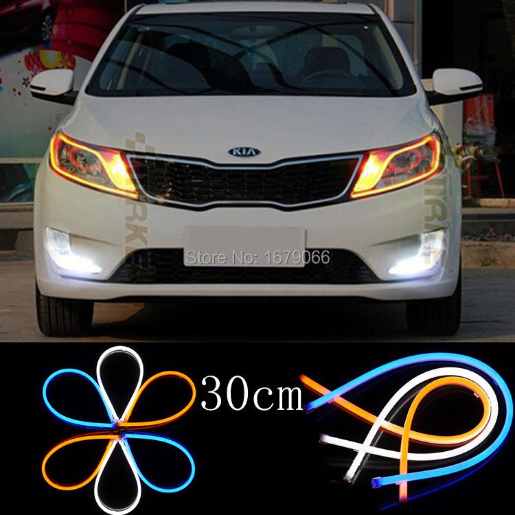 2x 30cm White blue Red yellow Flexible Tube Style Switchback Headlight Headlamp Strip Angel Eye DRL Decorative Light ,parking(China (Mainland))