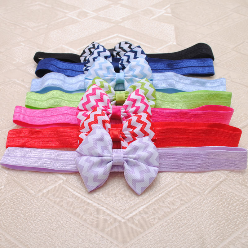 2Piece Chevron Hairbands For Girls Hair Accessories Baby Girls Hair Ribbon Bows Elastics Headbands For Birthday Gift(China (Mainland))