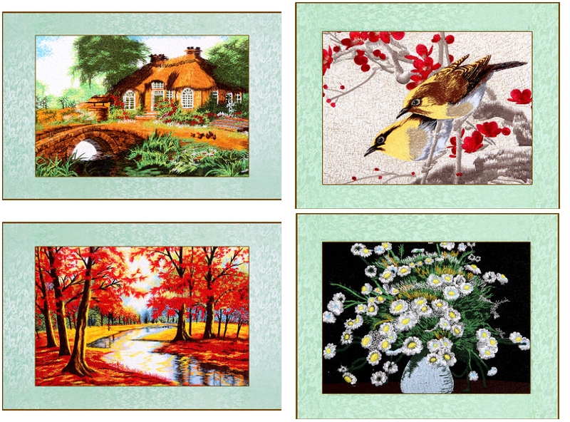 Mixed needle crewel embroidery finished painting / stitch birds tree house Red maple / Wall art pictures Landscape home decor(China (Mainland))
