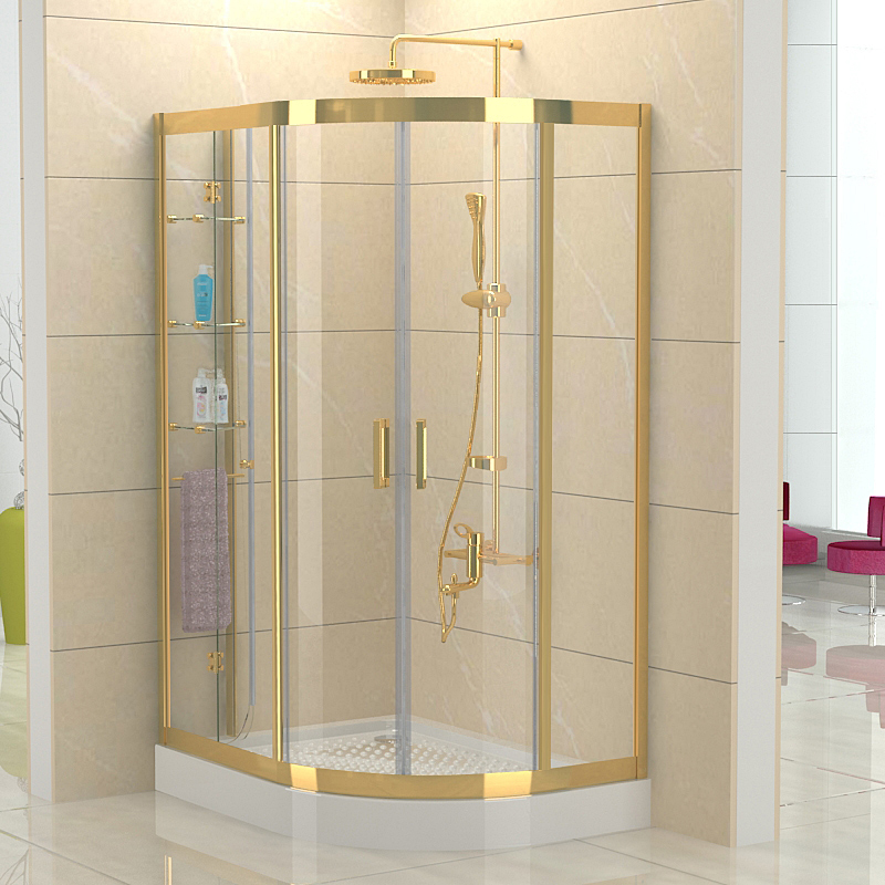 2015 SUS304 stainless steel Sector gold shower cabin with double-wheels arc shower room twin sliding door shower enclosures tray(China (Mainland))