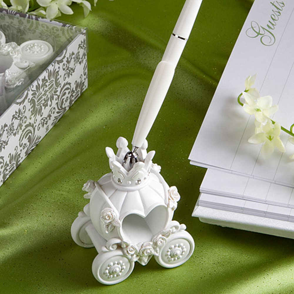100% Brand New Fashion Wedding Pen with Elegent Pumpkin Coach Pen Stand Excellent Wedding Supplies Beautiful Wedding Decoration(China (Mainland))