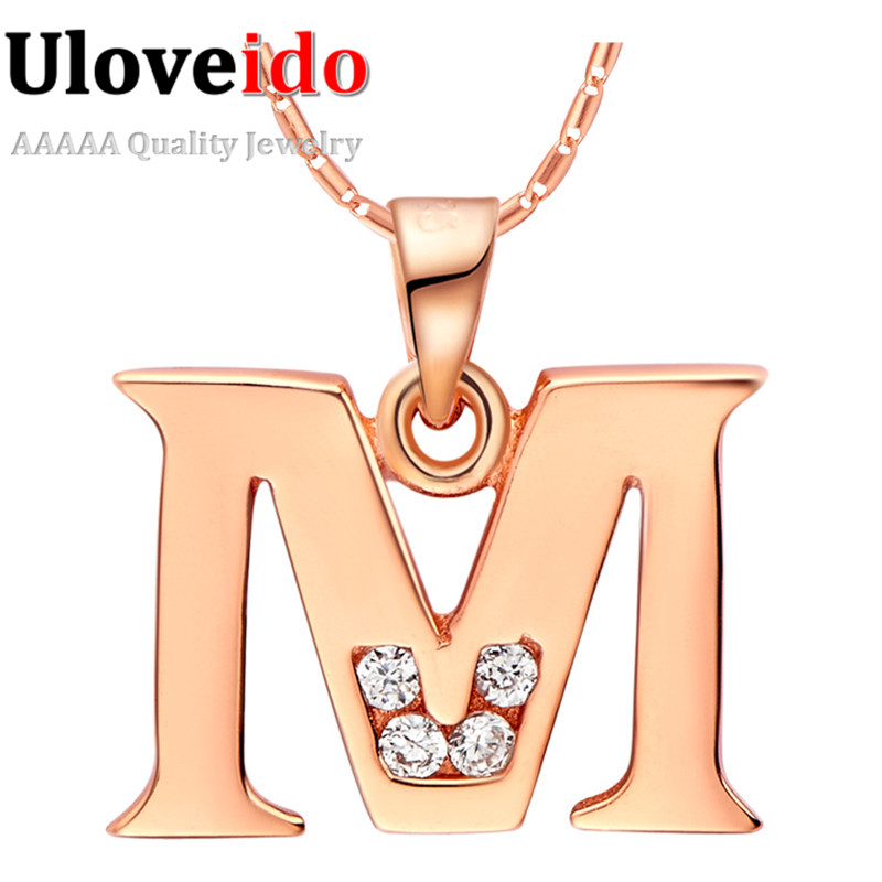 Uaib Letter A B C D E F G H I J K L M N O P Q I S T U V W X Y Z Pendant Necklace Rose Gold Plated Fine Jewelry Best Gift(China (Mainland))