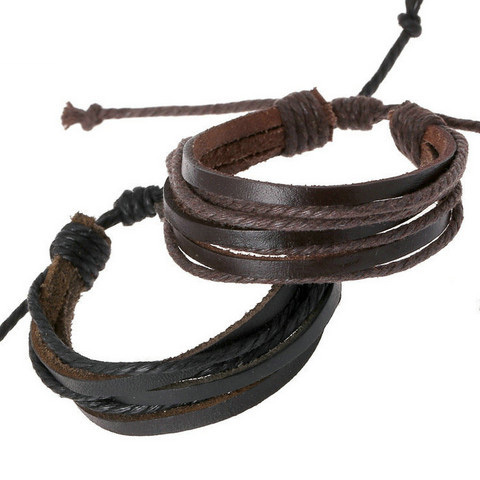 Fashion men Simple Style Bracelet Hemp Rope Braided Leather Chain Unisex Cuff Bracelets Couple Bracelet for