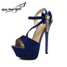 Sexy Nightclub 14cm High Heel Sandals Flower Rhinestone Suede Women Shoes Open Toe Pumps Ankle Straps sandalias plataforma