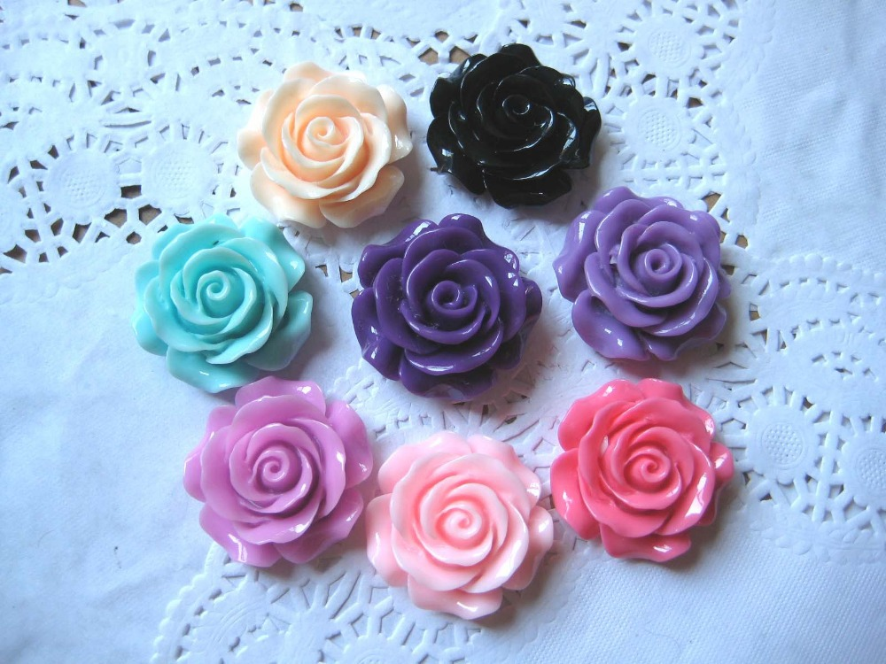 Wholesale // Big Rose Cabochon Flower Crafts resin Cabochons (30mm) Flat back 40pcs/lot Mixed For Girl's Hair Accessories(China (Mainland))