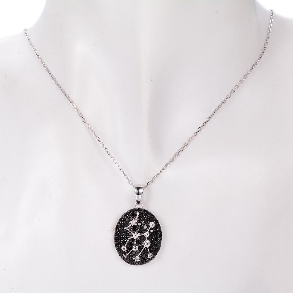 Hutang 2.61ct Черный Шпинель & Белый Топаз Подвеска Твердые 925 Серебряное Ожерелье Дева Созвездие Подарок На День Рождения