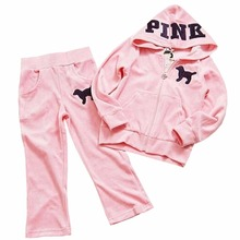 NEW Fashion  RETAIL PINK girls tracksuits HOT Girls children hooded suits girls casual Sport set Little Spring(China (Mainland))