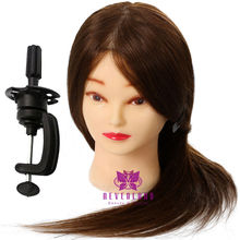 "20"" 100% Human Hair Brown Training Practice Head Mannequin Hairdressing + Clamp(China (Mainland))"