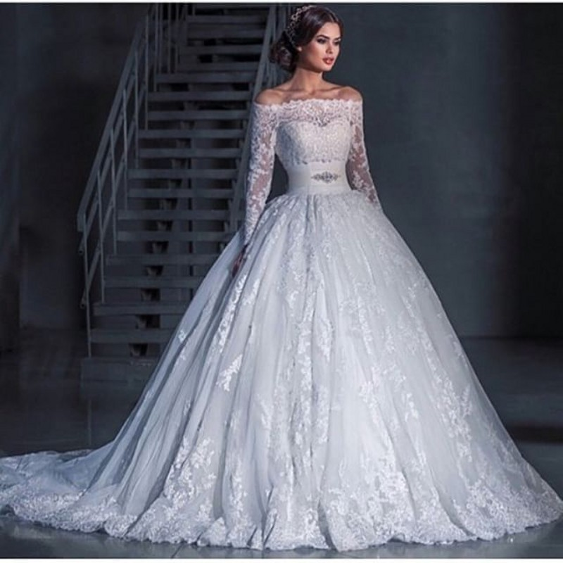 Ball Gown Wedding Dresses With Long Sleeves : Sexy luxury ball gown wedding dresses off shoulder long sleeve